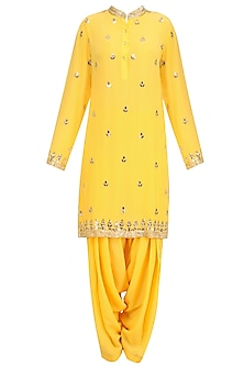 Mango Yellow Gold Embroidered Short Kurta and Patialla Set