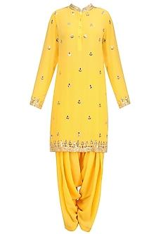 Mango Yellow Gold Embroidered Short Kurta and Patialla Set