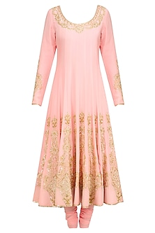Blush Pink Gold Sequin Embroidered Anarkali and Churidaar Set