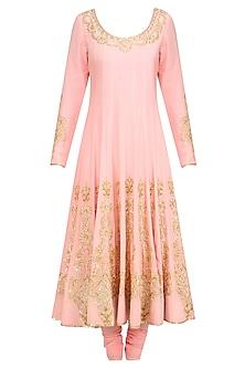Blush Pink Gold Sequin Embroidered Anarkali and Churidaar Set