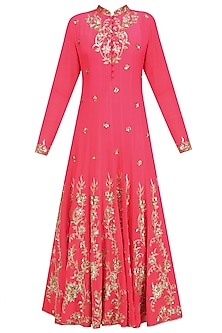 Coral Anarkali with Gold Floral Embroidery and Churidaar Set