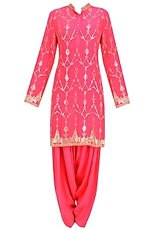 Hot Pink Jaal Embroidered Short Kurta and Patialla Set