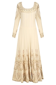 Beige Sequin Embroidered Anarkali and Churidaar Set