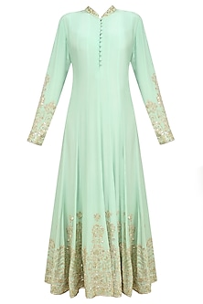 Mint Sequin Embroidered Anarkali and Churidaar Set