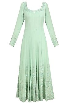 Mint Sequin and Beads Embroidered Anarkali and Churidaar Set by Anushka Khanna