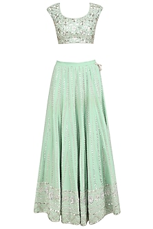 Mint Silver Embroidered Lehenga Set