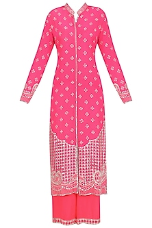 Hot Pink Embellished Jacket and Sharara Set