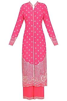 Hot Pink Embellished Jacket and Sharara Set