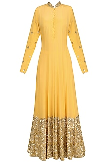 Mango Yellow Embellished Anarkali Set