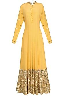 Mango Yellow Embellished Anarkali Set