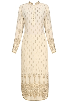 Beige Embellished Kurta and Sharara Set
