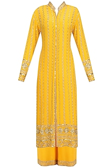 Mango Yellow Embellished Jacket and Sharara Set