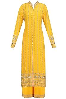 Mango Yellow Embellished Jacket and Sharara Set