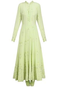 Pista Green Anarkali Set