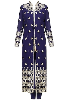 Navy Blue Embroidered Jacket Kurta Set