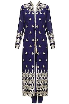 Navy Blue Embroidered Jacket Kurta Set