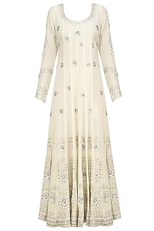 Cream Embroidered Anarkali Set