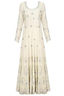 Cream Embroidered Anarkali Set