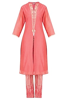 Pink Embroidered Kurta with Tye and Dye Pants