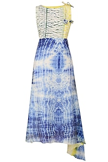 Blue, Yellow and White Tye and Dye Asymmetrical Dress