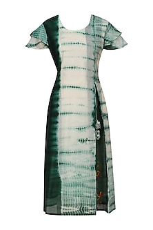 Green and White Tye and Dye Birds Embroidered Kurta