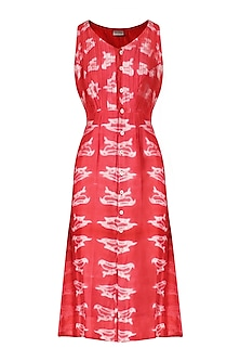 Red Shibori Dye Bird Print Dress by Anvita