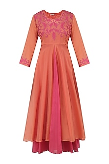 Pale Orange and Pink Applique Work Kurta