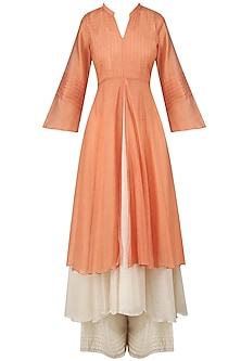 Pale Orange Pintuck Kurta and Off White Palazzo Pants Set