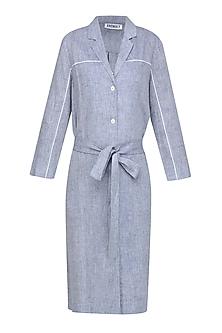 Blue Grey Heathered Classic Shirt Dress
