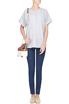 Pale Blue Roll Up Sleeves Oversized Shirt by Anomaly