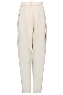 Beige Double Pleated High Waist Pants
