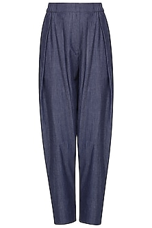 Blue Double Pleated High Waist Pants