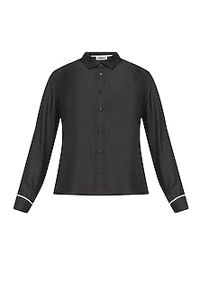 Black button down silk habotai shirt by Anomaly