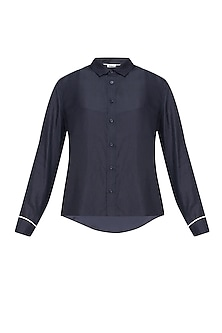Navy blue button down silk habotai shirt by Anomaly