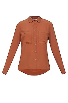 Burnt umber button down silk shirt