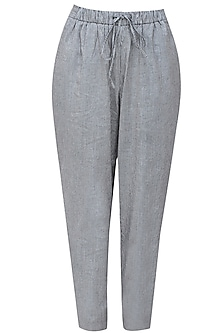 Grey and black pinstriped relaxed drawstring pants