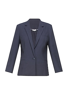 Navy blue classic city front open blazer