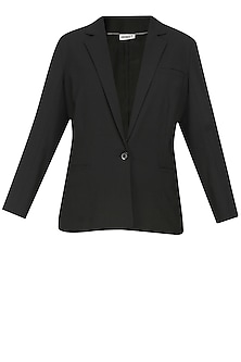 Black classic city front open blazer