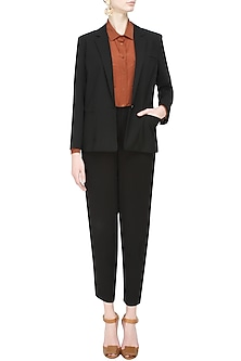 Black classic city front open blazer by Anomaly