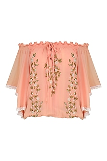 Peach Leaf Embroidered Off Shoulder Top