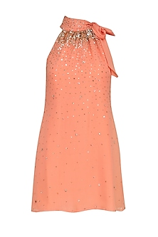 Peach Sequin Embroidered Tie Up Neck Dress