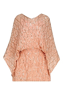 Peach Floral Embroidered Kaftan Style Dress