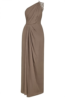 Nude Pleated One Shoulder Maxi Dress