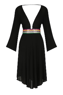 Black Abla Embroidered V-Neck Dress