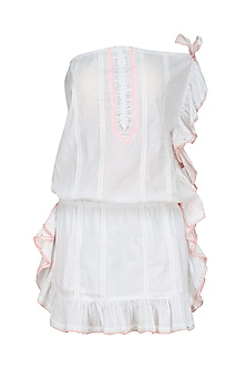 White Thread Embroidered Frill Dress