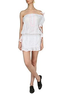 White Thread Embroidered Frill Dress by Nandita Mahtani