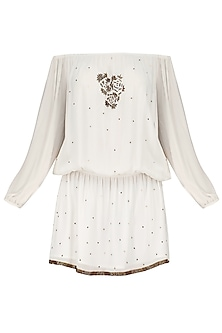 White Motive Embroidered Off Shoulder Dress by Nandita Mahtani