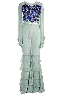 Blue Embroidered Top With Pants by PARNIKA