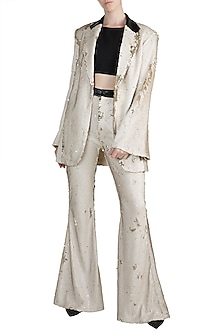 Silver Sequin Blazer Set by PARNIKA