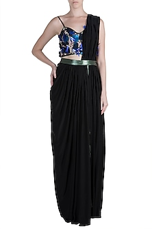 Black Embroidered Blouse With Skirt & Attached Drape by PARNIKA